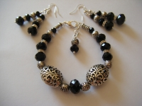 Black crystal bracelet with Tibetan silver filigree focal beads