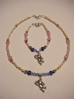 Pearl and crystal necklace and bracelet set.  Ideal christening or bridesmaid gift.